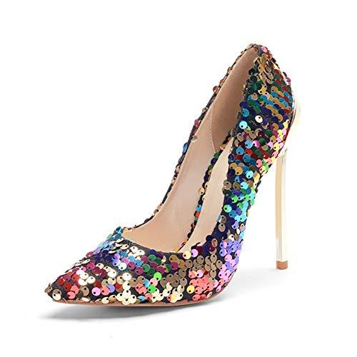 DEAR-JY Zapatos de Tacón para Mujer,Lentejuelas de Color de 12 cm Super Brillante Punta Puntiaguda Elegante Sexy tacón de Aguja Asakuchi,Boda Fiesta Club Vestido de Noche,35 EU