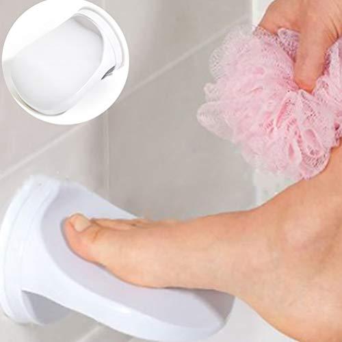 Ettzlo Duschfußablage, Rasieren Waschen Fußablage, Kunststoff Badezimmer Fußstütze Dusche Rasieren Bein Hilfe Fußstütze mit Saugnapf Stufendusche für Zuhause Hotel Badezimmer