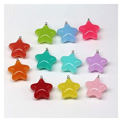 HONGTAI 10 unids/Lote 23 x24 mm Aciclico Encantos de Estrella de Cinco Puntos Beads para Pendientes Colgante Llavero Hecho a Mano Joyería Haciendo hallazgos (Size : Pink)