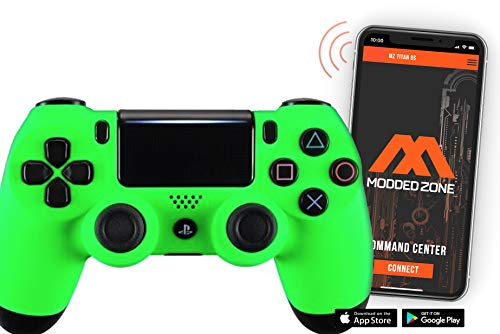 Soft Touch Neon Green PS4 PRO Smart Rapid Fire Modded Controller Mods for FPS All Major Shooter Games Warzone & More (CUH-ZCT2U)