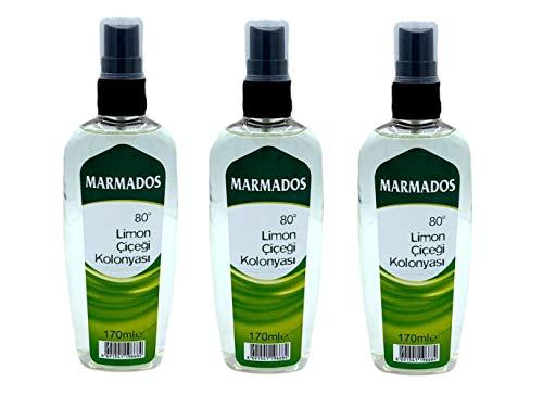 MARMADOS Limon Kolonya 80° 170ml | Lemon Eau de Cologne | After Shave | Rasierpflege | Rasierwasser | Duftwasser mit Zitronenduft | 80% Alkohol Desinfiziert | Spray Kölnischwasser | (3)