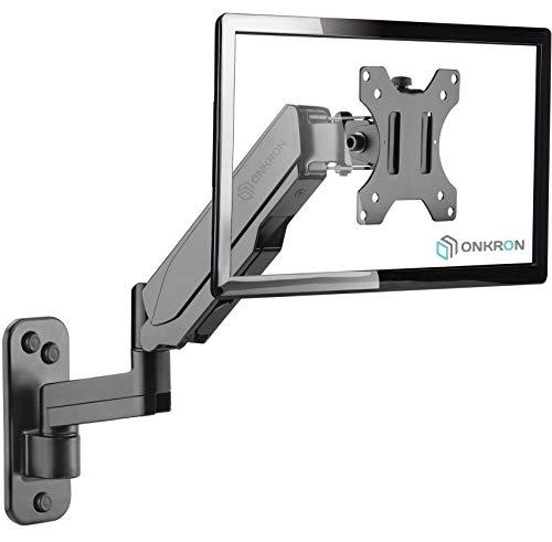 """ONKRON Monitor Wandhalterung 13""""-32"""" Zoll für die meisten Monitore Gaslift schwenkbar neigbar VESA 75x75-100x100mm G150 Schwarz"""
