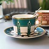 CJHYY Taza de café de cerámica de Lujo Ligera marroquí, Juego de platillo y Taza de café pequeña de Lujo de Estilo Europeo, té de la Tarde para el hogar, Taza de té con Flores