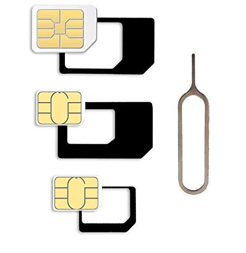 Micro SIM Card Adapter 4 in 1 Set Completo, Mini Set con klicksi cherung, 100% su Misura, Nano a Micro, Nano a Standard, Micro a Standard