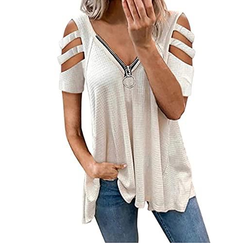 Camiseta De Manga Corta Sin Tirantes De Color SóLido con Cremallera De Corte Bajo Sexy De Verano para Mujer