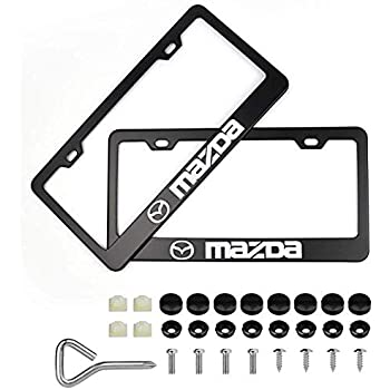 JS Auto 2pcs License Plate Frames with Screw Caps Set Stainless Steel Frame Applicable to US Standard Cars License Plate Fit Car Accessories fit Mini