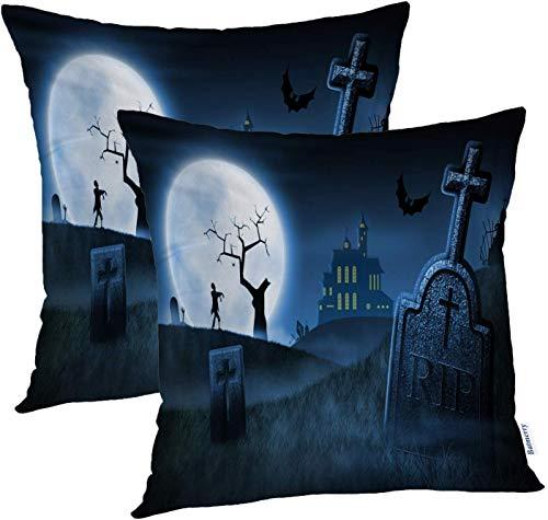 goodshop1988 Fundas de Almohada de Halloween 18x18 Pulgadas, Spooky Halloween Cemetery Casa embrujada Silueta Scary Tomb Night Throw Almohadas Fundas Funda de cojín de sofá Funda de Almohada