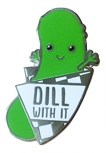 "TINY BEE CARDS - Funny Dill Pickle Enamel Pin""Dill With It"" Pun Lapel Pin"