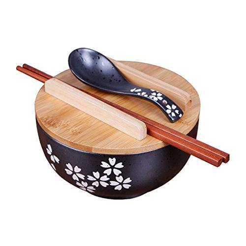 Vaisselle de cuisine japonaise coréenne vintage bol nouilles bol de riz style japonais bol de nouilles instantanées en céramique noire Baguettes avec couvercle et cuillère
