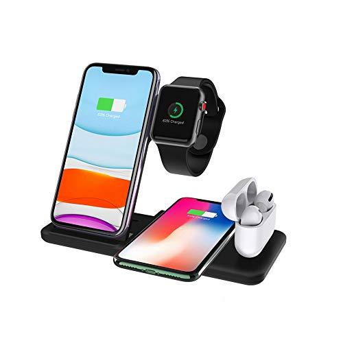 COSCANA Cargador Inalámbrico 4 En 1, Cargador Inalámbrico para Apple Watch, Estación De Carga Qi Carga Inalámbrica Rápida para Airpods, iPhone 12/11 / XS/XR/X / 8