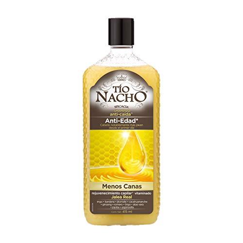 Tío Nacho Shampoo ANTI-EDAD, Menos Canas, rejuvenecimiento capilar + Jalea Real, botella 415 ml
