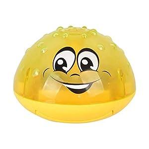 PLXX Pelota de rociadores de inducción eléctrica bebés con música Ligera Juguete de baño para bebés Seguro e Interesante Juguete para niños Juego de Agua Bola de Juguete, Bola Amarilla
