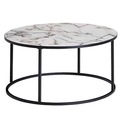 FineBuy Tavolino Salotto Aspetto del Marmo Tavolo da Soggiorno 80x80x40 cm Bianco   Tavolinetto Rotondo Moderno   Tavolino da caffè