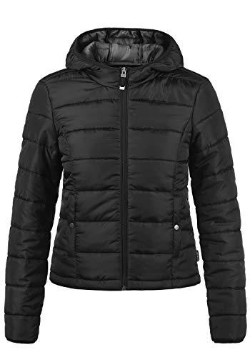 VERO MODA Pamela Damen Übergangsjacke Steppjacke leichte Jacke gefüttert mit Kapuze, Größe:L, Farbe:Black