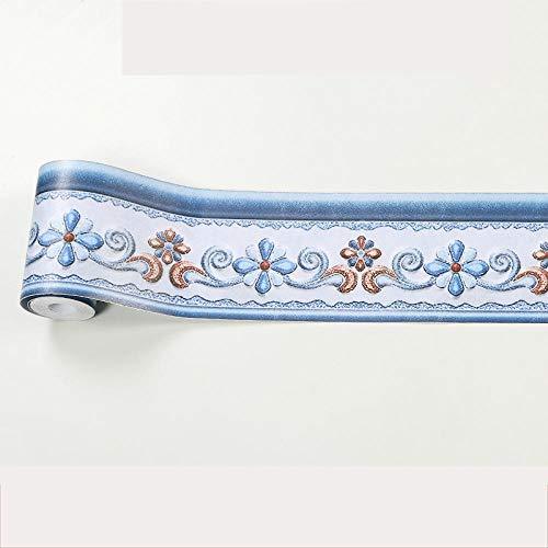 Papel pintado para bordes autoadhesivos, color azul, grueso, impermeable, para decoración del hogar, baño, cocina, dormitorio, estudio, pasillo, entrada, azulejos, decoración de puerta, 10 x 500 cm