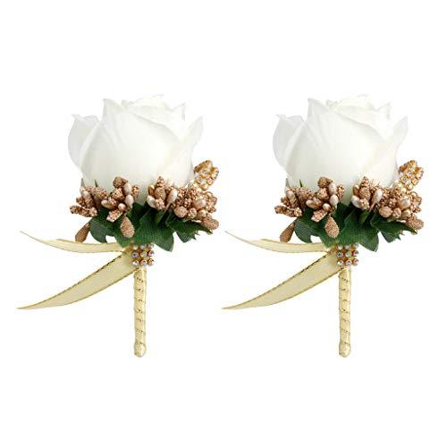 MagiDeal 2X Broche de Flor Rosa de Estimulación Pin de Ramillete de Boda Blanco Y Dorado