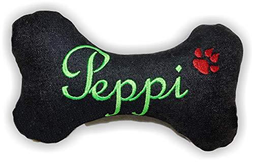 Hunde quietsch Spielzeug personalisiert Kissen Quietscher/Rassel Jeans Knochen Hundeknochen schwarz XXS XS S M L XL XXL Name Wunschname bestickt Unikat persönliches Geschenk Hundespielzeug