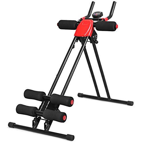 Goplus® Ab Trainer Foldable Abdominal Trainer Ab Vertical 5 Minute Shaper Waist Trainer Core Toner Ab Cruncher Fitness Machine Equipment W/ LED Counter