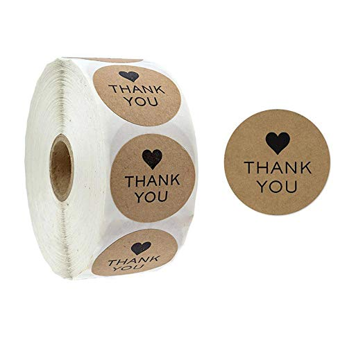 Round Handmade Stickers Thank You Adhesive Stickers Labels Envelope Seal Kraft Stickers by Romancy