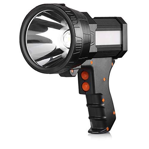 BUYSIGHT spotlight,Spot lights hand held large flashlight 6000 lumens High Lumens flashlight side light Lightweight and Super bright Lantern spotlight flashlight (Aluminium_Alloy Black)