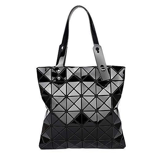 whatUneed Femmes Top-Handle Bags, Sac à bandoulière lumineux géométrique, pliable en cuir PU Shard Lattice Tote Bag Sac à provisions