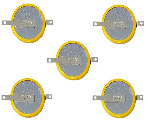 Eunicell 5 x F2-CMOS Batterie/Battery BIOS BR / CR2032-1F2 mit Lötfahne 3V für PC EINWEG v