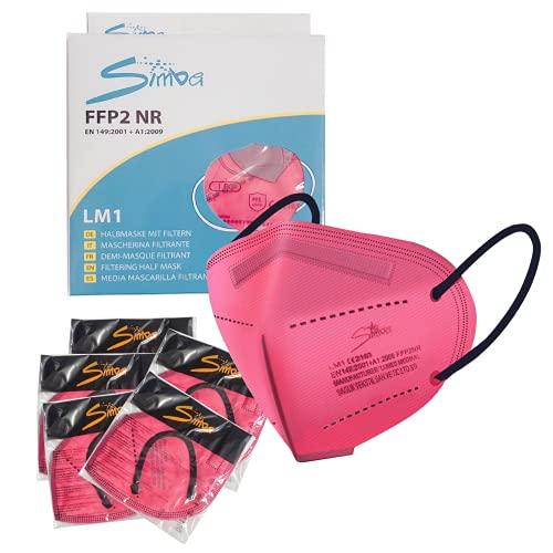 Acewin FFP2 Maske CE Zertifiziert - 12 Stück Masken - Farbe Premium hygienische Einzelnverpackung 5 lagige Atemschutzmaske Mundschutzmaske-Rosa