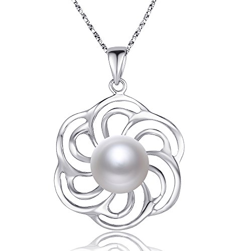 Nonnyl Pearl Necklace for Women Genuine Sterling Silver White Freshwater Cultured Pearl Pendant Jewelry