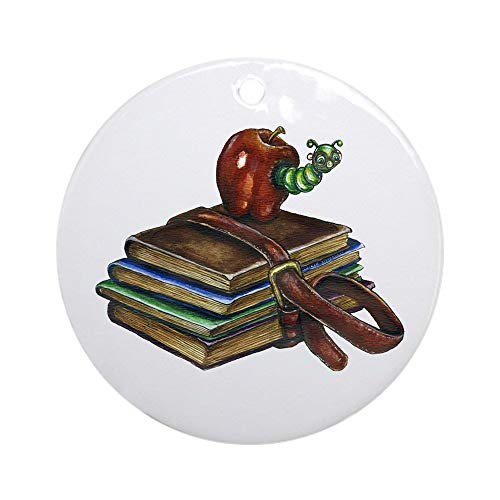 EaYanery Bookworm Ornament (Round) Personalized ceramic Holiday Christmas Ornament Ideas 2019