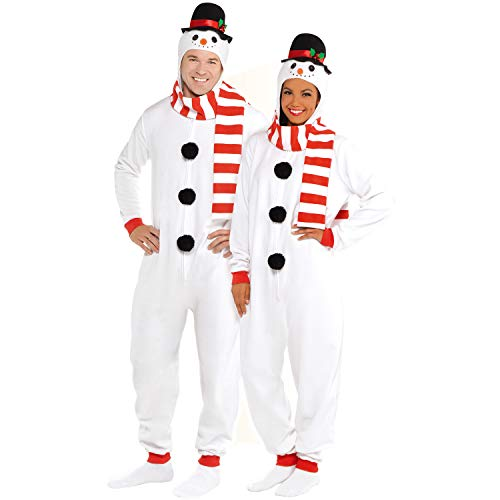 Wizland Adult Snowman Onesie Men's and Women's Matching Pajamas, Adult Snowman Xmas Costume (L/XL)