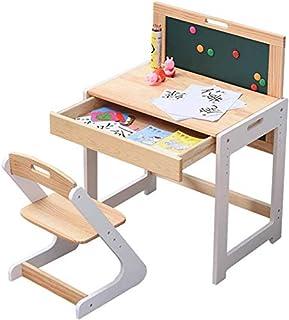 Mesas y sillas Escritorio infantil y Presidente de ajuste, pudiendo subir y bajar sólido de madera niños Escritorio y silla de estudio, con desmontable escritorio con tablero de dibujo / Como se muest