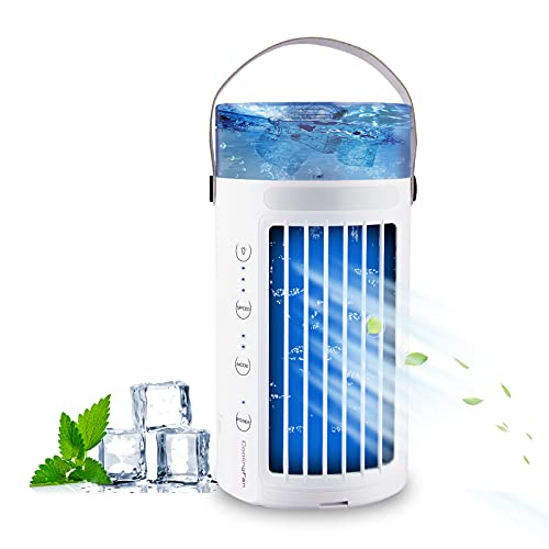 Mini enfriador de aire Maimu mini aire acondicionado portátil 5 en 1 enfriador de aire y humidificador, ventilador y purificador con 3 velocidades ajustables 7 colores LED hogar y la oficina