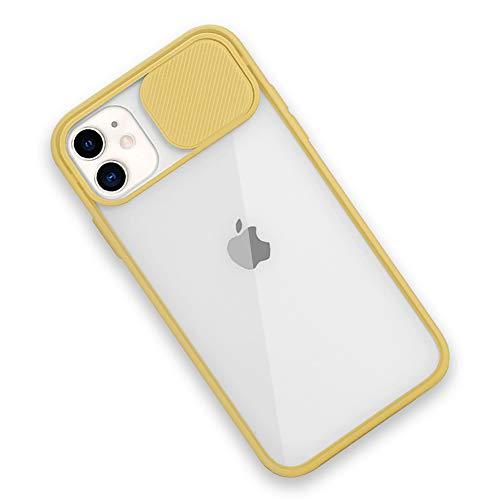 Rdyi6ba8 Funda Compatible con iPhone 11, Carcasa Trasera Transparente Mate PC y Silicona TPU Bordes Resistente a Impactos [Protección de la cámara] Caso para iPhone 11, Amarillo