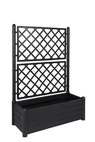 XL Rankgitter, Spalier mit Pflanzkasten aus robustem Kunststoff in Anthrazit/Grau. Topp für Garten, Terrasse und Balkon! (breite)