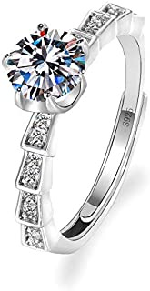 Splendente Fashion Ring Imitation Jewelry Artificial Diamond- with Side Stones 4 Prong Twill Design Adjustable Ring for Me...