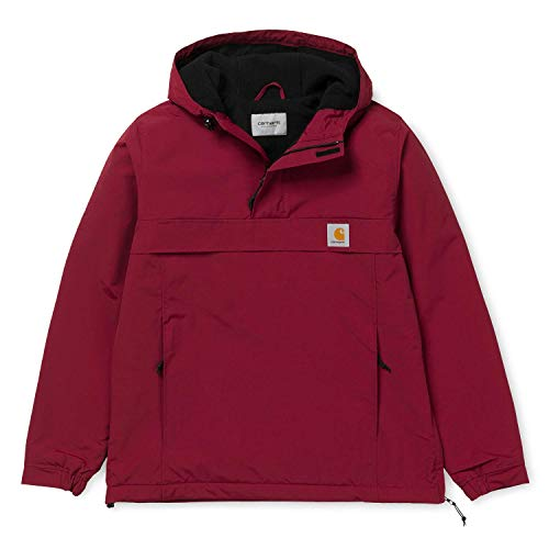 Carhartt WIP Unisex Damen Herren Winter Supplex-Nylon Nimbus Pullover mit Fleecefutter M Rot mit 7kmh Aufkleber