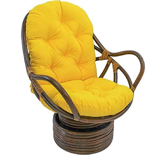 CDKET Papasan Chair Cushion Waterproof Not Rattan Frame Swivel Rocker Chair Cushion Needles Twill Solid with Ties for Indoor Patio Hammocks Swings-48x24x5Inch Yellow