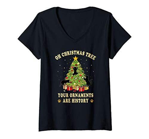 Womens Oh Christmas Tree Your Ornaments Are History Funny Cat V-Neck T-Shirt