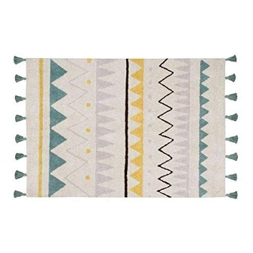 Lorena Canals Natural Azteca Alfombra Lavable de algodón 120 x 160 x 30 cm Azul Vintage