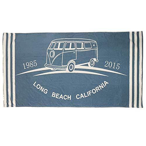 HOMELEVEL Toalla de playa de mezcla de algodón, 180 cm x 90 cm, color azul