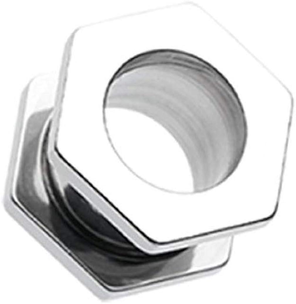 Covet Jewelry Steel Hexa Bolt Screw-Fit Ear Gauge Tunnel Plug