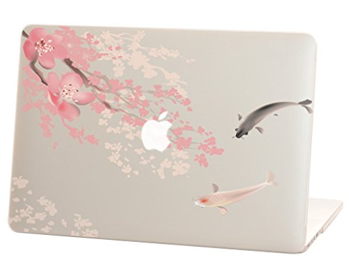 Macbook Pro Retina 13 inches Rubberized Hard Case for model A1502 & A1425, Koi Fish with Cherry Blossom Design with Clear Bottom Case, Come with Keyboard Cover