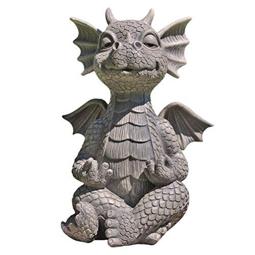 Dan&Dre Resin Dragon Statue - Zen Yoga Dragon Home Garden Decoration Dragon Buddha Art Sculptures for Outdoor Backyard Porch