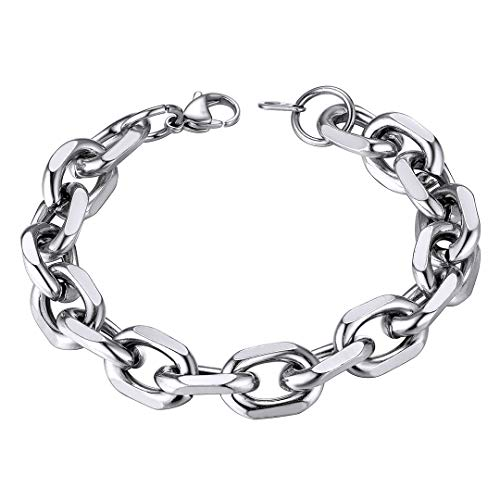 ChainsHouse 12 mm breit Silber Armband 21cm lang Panzerarmband Edelstahl Rolo Link Armband