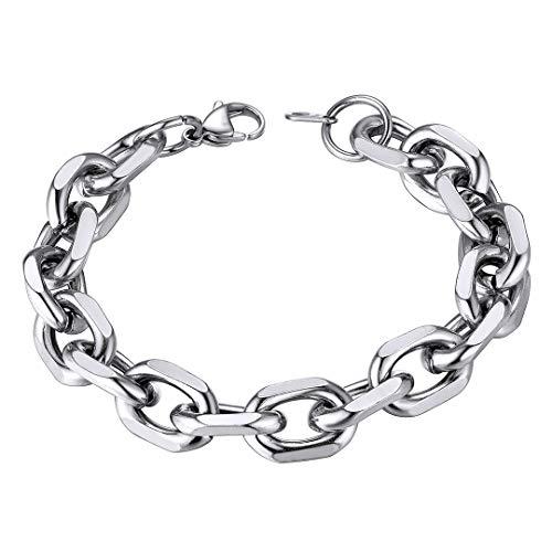 ChainsHouse 12 mm breit Silber Armband 21cm lang Panzerarmband Edelstahl Rolo Link Armband