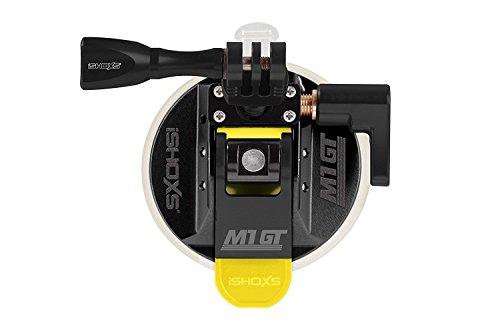 iSHOXS M1 GT, Profi Saugnapf aus Aluminium mit 3D/360 Grad Kugelaufnahme passend für GoPro und kompatible Actioncams - Schwarz