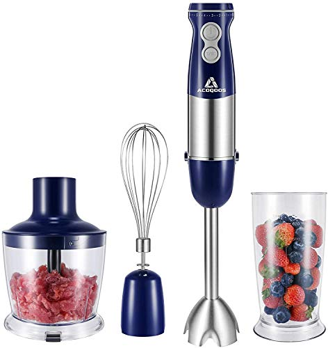 Stabmixer Set 1000W ACOQOOS Elektrische Pürierstab Set mit 6 Geschwindigkeiten Einstellbar, 4 Edelstahl-Mixfuß, 4-in-1 Mixstab für Smoothie, Suppen, Joghurt, Saucen, Babynahrung