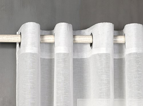 Cortina translucida con 8 ollao de 140x260 para salón, habitación y dormitorio. Modelo clara (NATURAL)