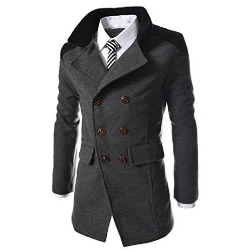 FNKDOR Manteau Homme Laine Hiver Chaud Trench-Coat Caban élégant Blouson Parka Veste Slim Fit Casual Coat (M, Gris)