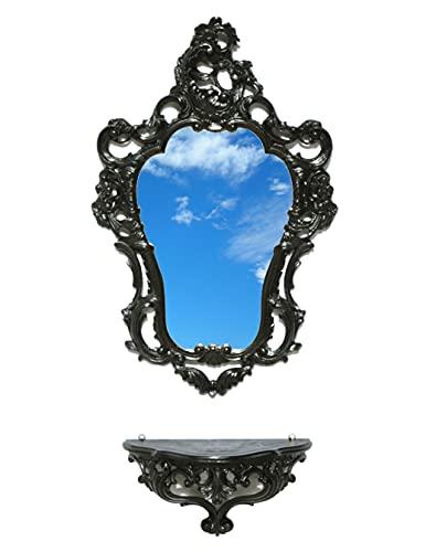 Idea Casa Ensemble miroir + étagère console console Noir Black Style baroque Louis XVI Faux Vintage